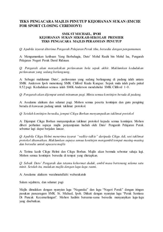 Teks Pengacara Majlis Penutup Kejohanan Sukan