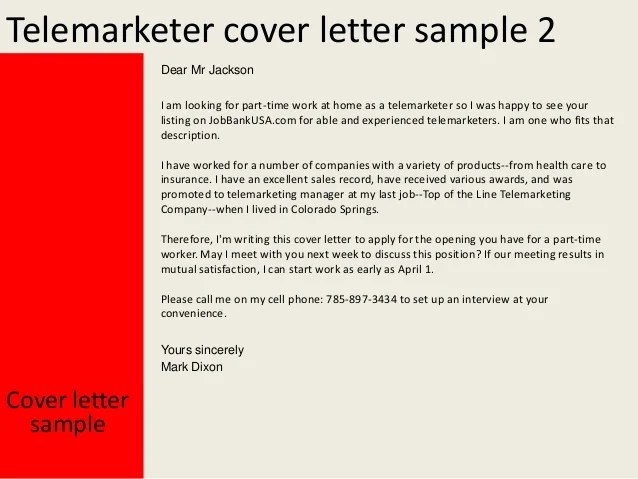 Cover Letter For A Telemarketer Job Posting