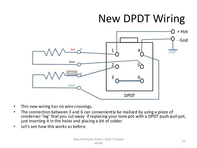 Series  Parallel wiring diagram for 4conductor Humbucker