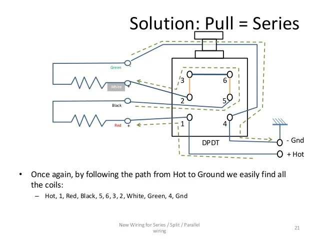Series  Parallel wiring diagram for 4conductor Humbucker