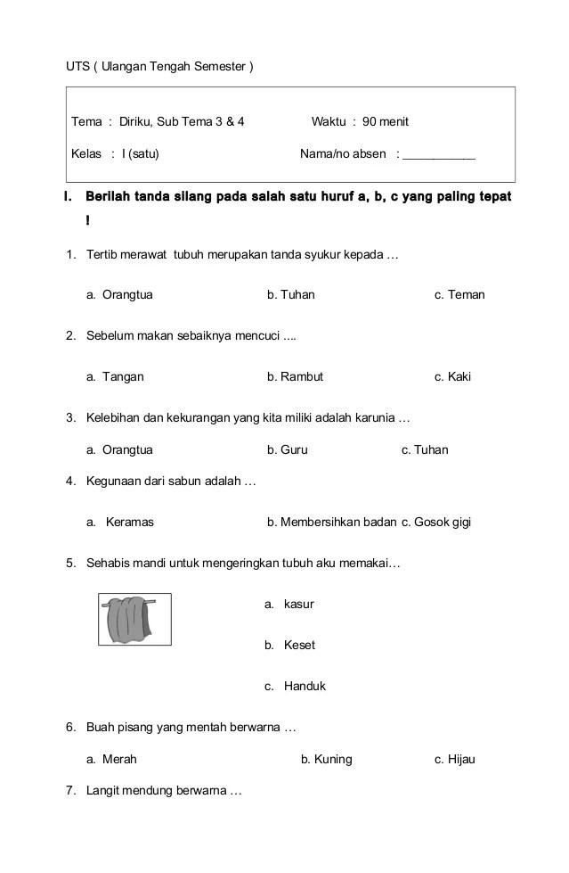 Soal Tematik Kelas 1 SD Tema 3 Subtema 1 Kegiatan... - Bimbel Brilian