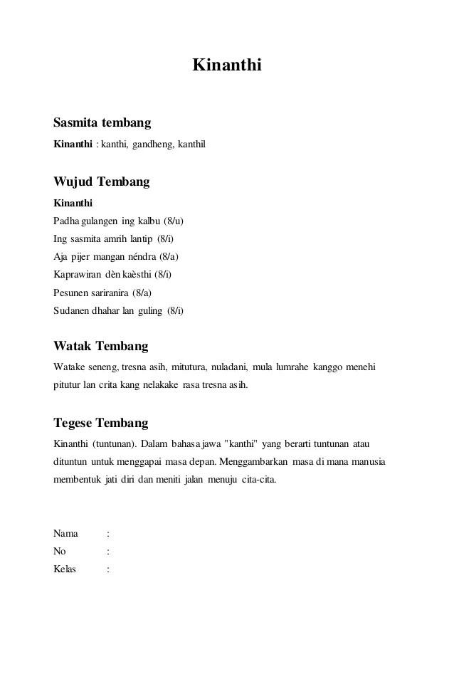 Tembang Macapat Kinanthi : tembang, macapat, kinanthi, Tembang, Macapat, Lengkap