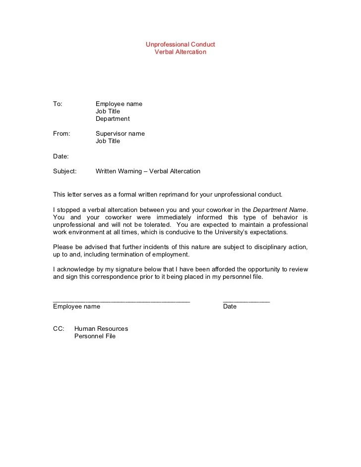 Template disciplinary lettersexamples-gables