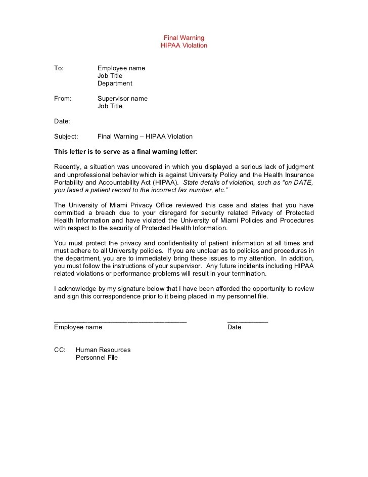 human resources warning letter