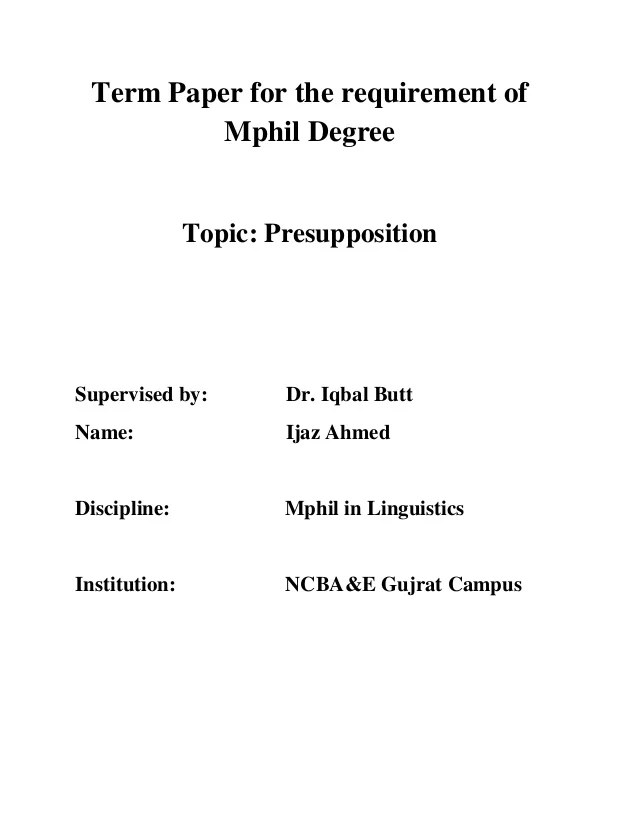 Term Paper Topics Linguistics
