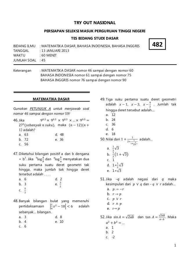 Contoh Soal Tes Kemampuan Dasar Bumn : contoh, kemampuan, dasar, Contoh, Kemampuan, Dasar, Matematika, Terbaru, Cute766