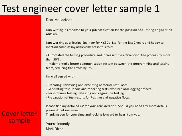Test engineer cover letter