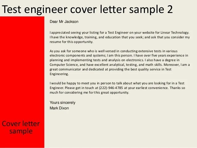 Electrical Test Engineer Cover Letter » Water Quality ...