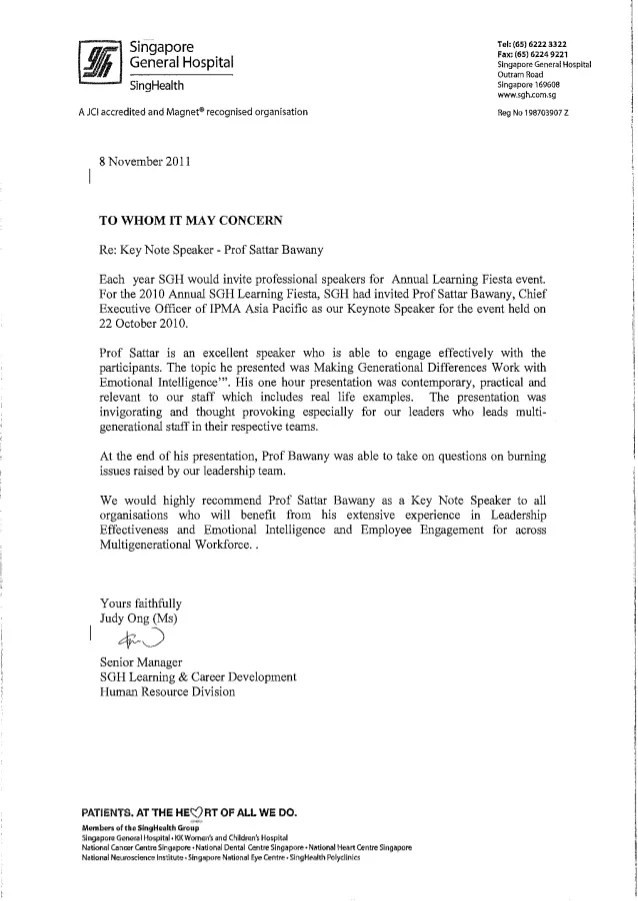 Testimonial from Singapore General Hospital SGH for Prof Sattar Baw