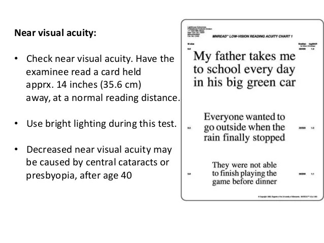Near visual acuity also test of distance vision field nusrat zerin assis  rh slideshare