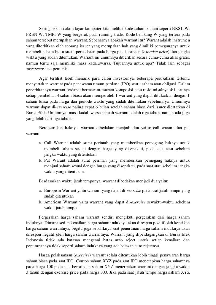 Harga Saham Bksl : harga, saham, Warrant