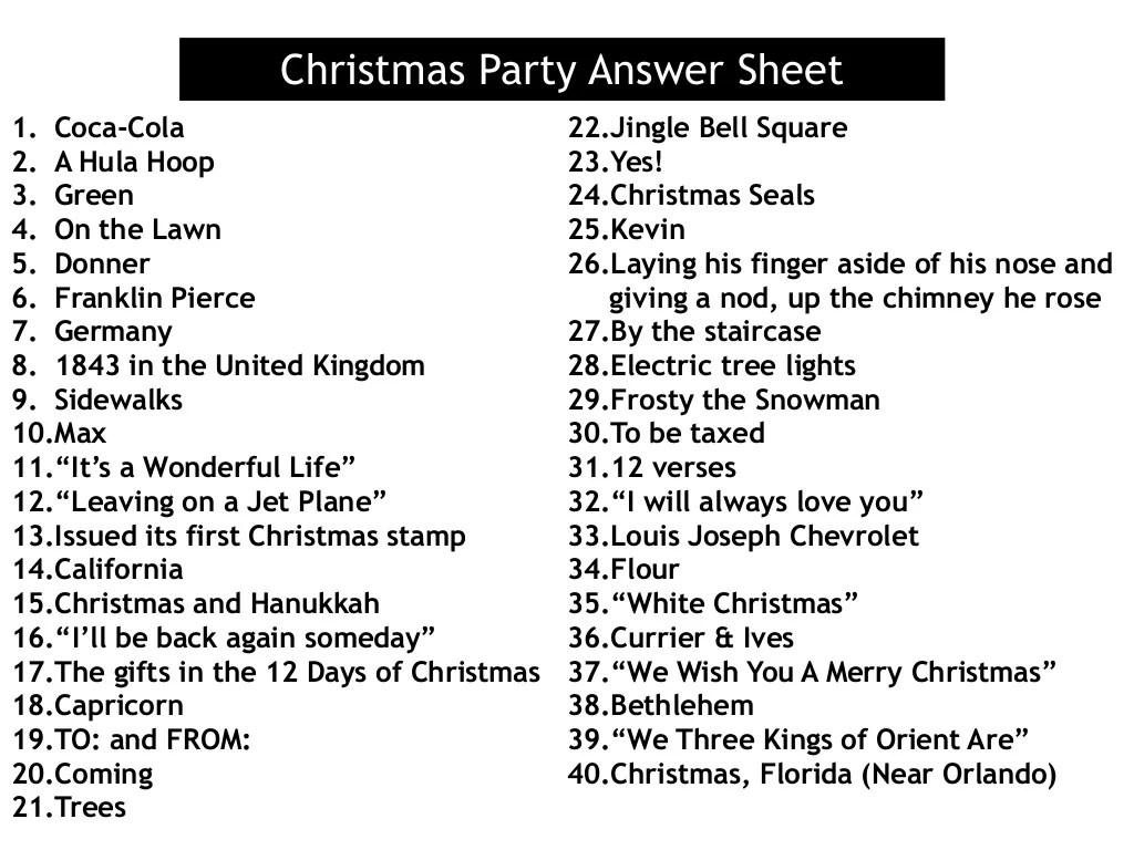 Christmas Party Answer Sheet 1