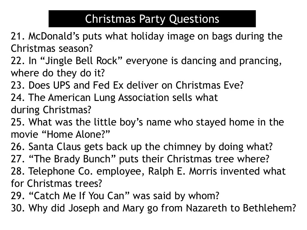 Christmas Party Questions 21 Mcdonald S