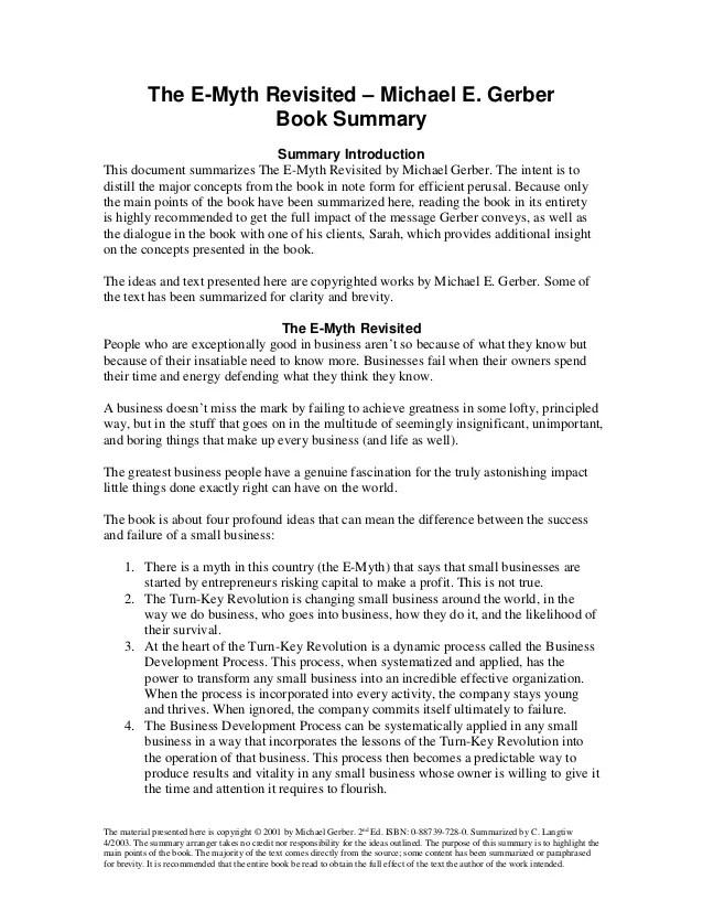 The E Myth Summary