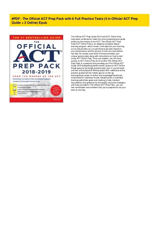 #PDF~ The Official ACT Prep Pack with 6 Full Practice Tests (4 in Off…