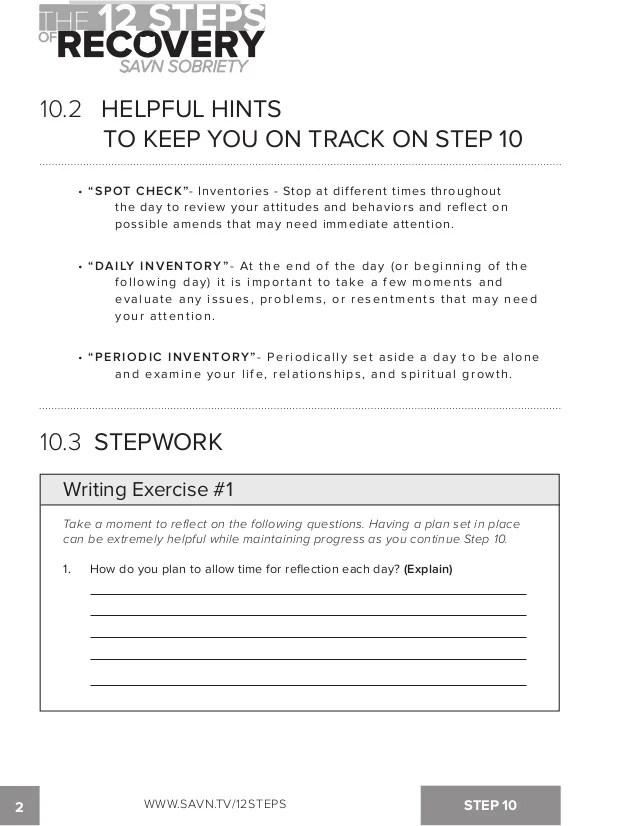 Step 10 Aa Worksheet : worksheet, Steps, Recovery, Sobriety, Workbook