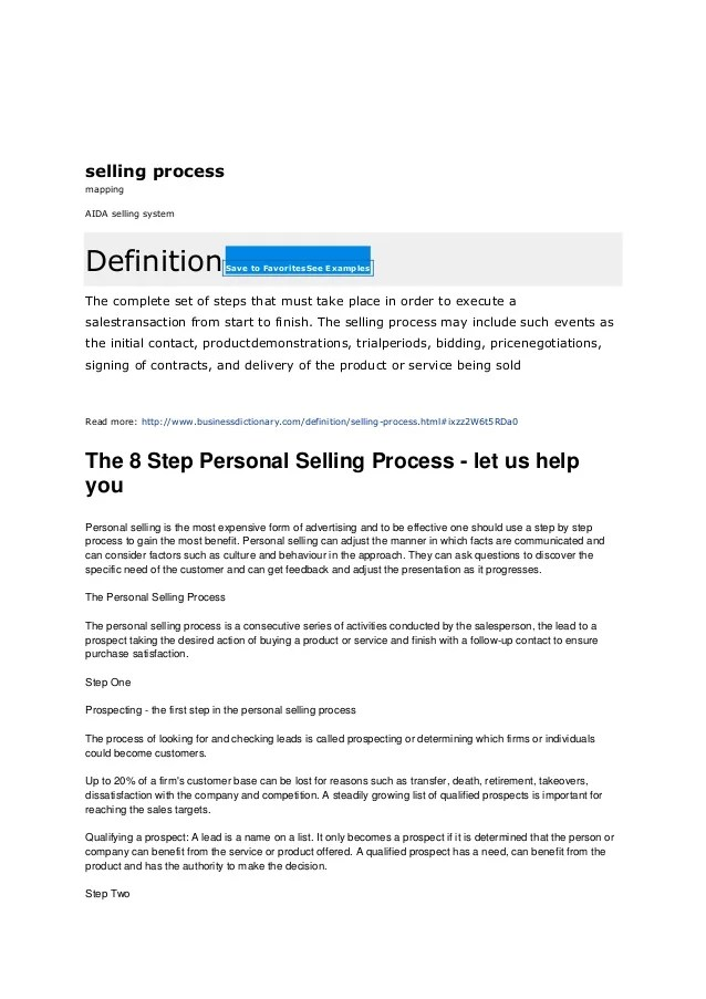 The 8 step personal selling process process of selling