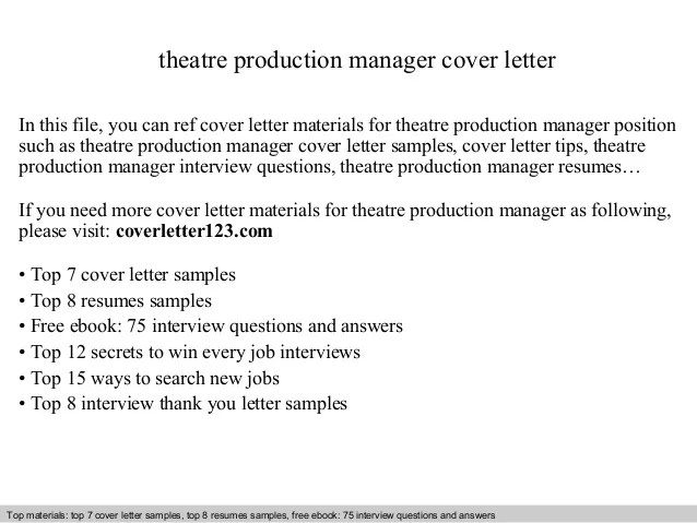 Production Manager Resume Cover Letter