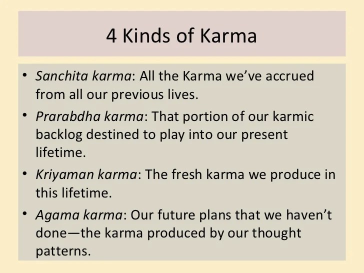 kinds of karma sanchita karma all the karma we