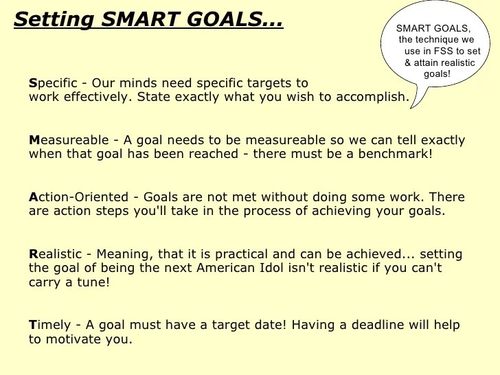Professional Examples Of Goals