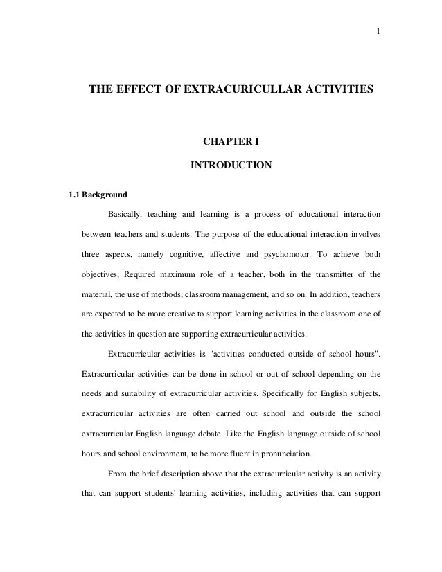 Research Proposal The Effect Of Extraculicullar Activities