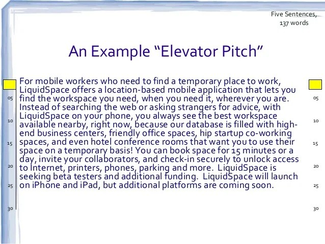 example of elevator pitch for research paper
