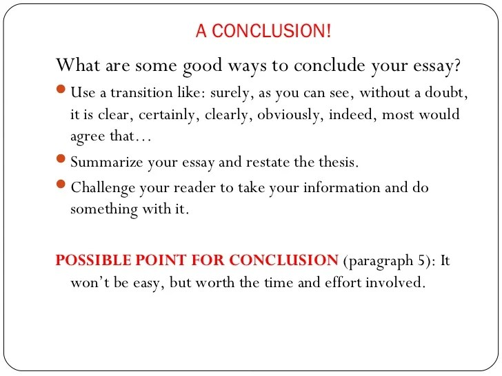 Good Essay Conclusions Examples