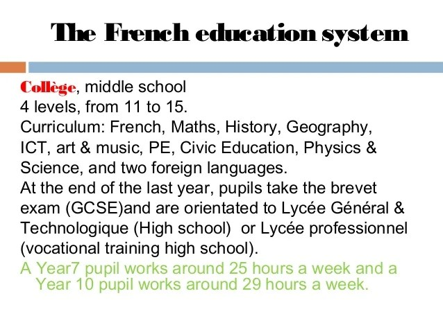 The french school system sd