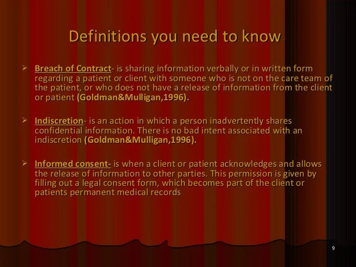 The importance of confidentiality