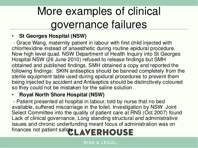 The intersection between corporate and clinical governance  implicat