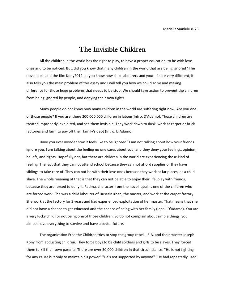 Marielle The Invisible Children Essay Final Copy