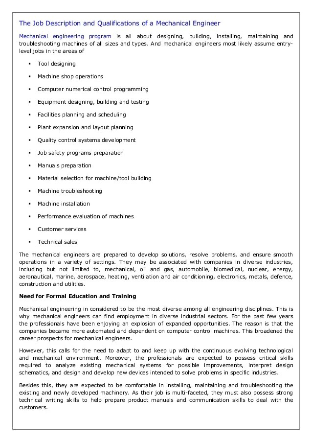 The Job Description And Qualifications Of A Mechanical