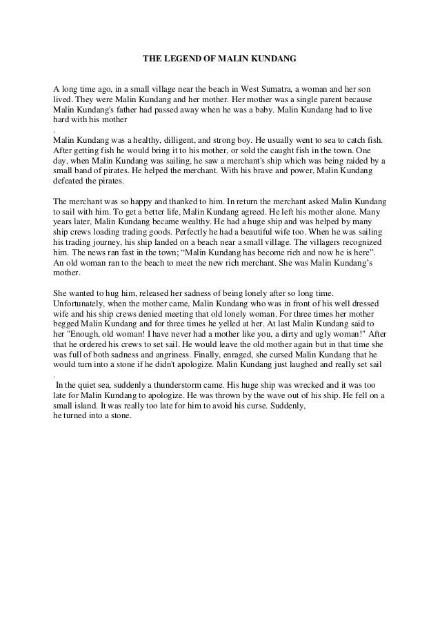 Cerita Malin Kundang Dalam Bahasa Inggris : cerita, malin, kundang, dalam, bahasa, inggris, Legend, Malin, Kundang