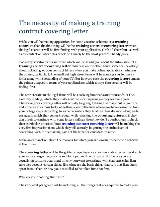 The Necessity Of Making A Training Contract Covering Letter