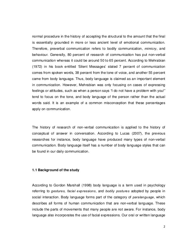 A Study On The Use Of Body Language Among Executives In An Orginaziti