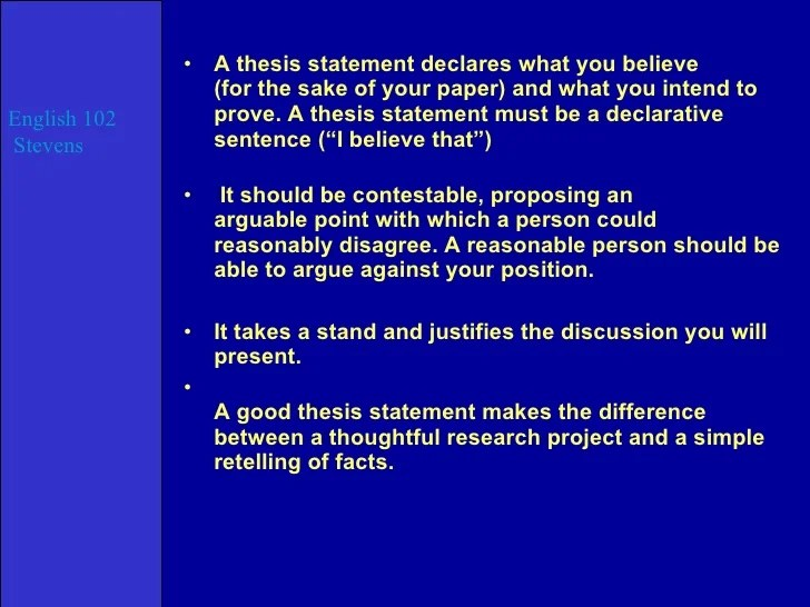 examples of a good thesis statement for an essay