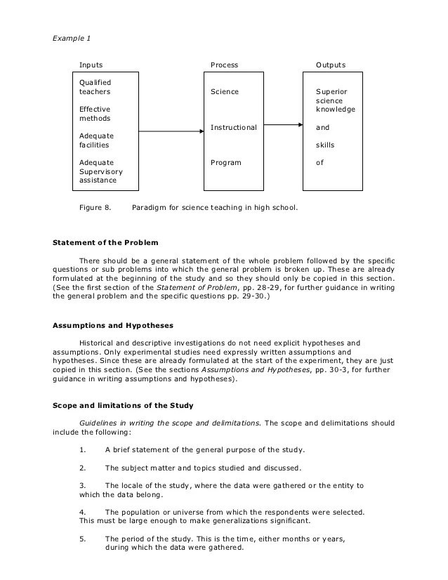 Scope and delimitation in thesis