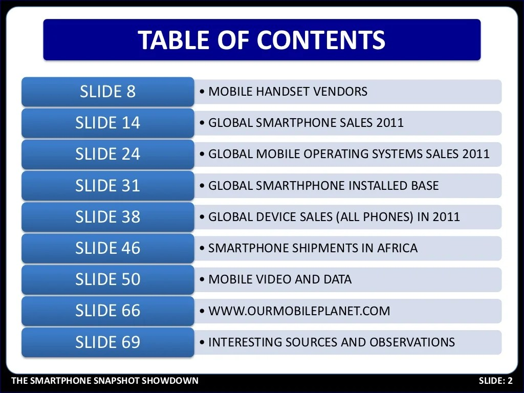 Table Of Contents Slide 8
