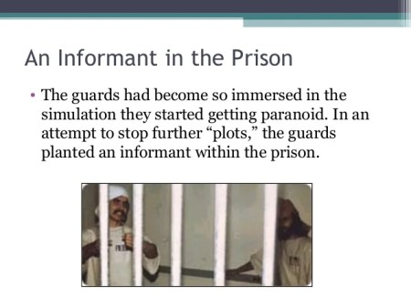 An Informant in the Prison • The guards had become so immersed in the simulation they started getting paranoid. In an atte...