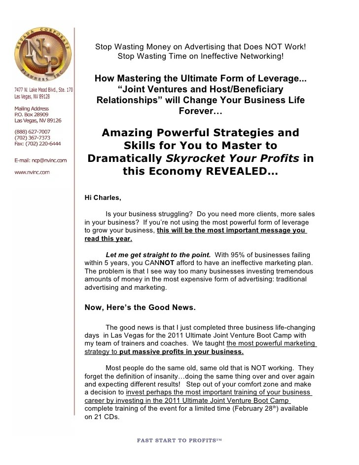 The Ultimate Joint Venture Boot Camp Cd Sales Letter 2 11 11