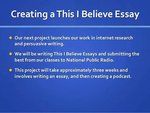 examples of this i believe essays