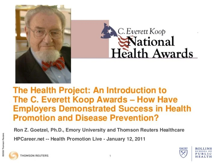 C Everett Koop The Health Project National Health Awards