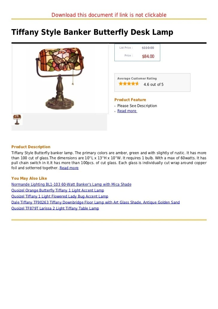 Tiffany style banker butterfly desk lamp