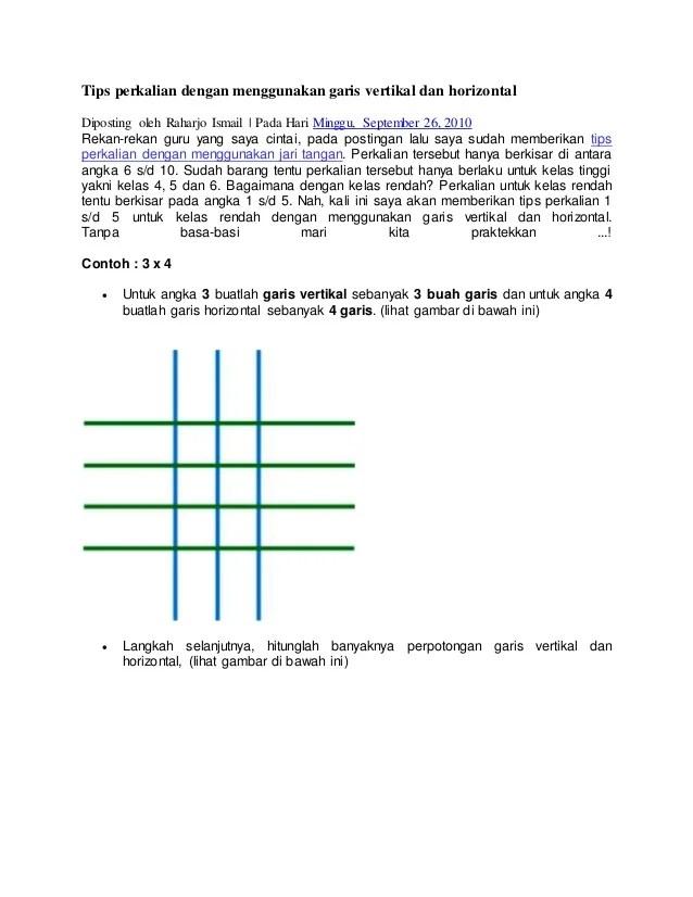 Garis : Vertikal, Horizontal, Diagonal dan Kedudukan Dua Garis