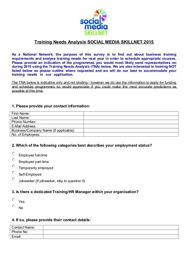 Training Needs Analysis 2015