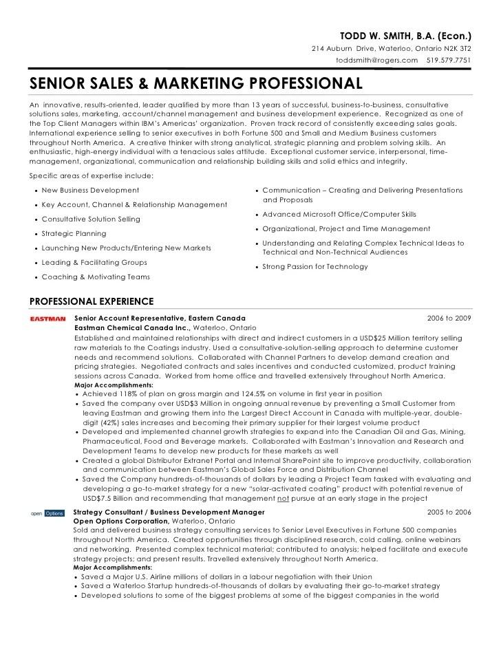 Todd W Smith Senior Sales & Marketing Professional Resume