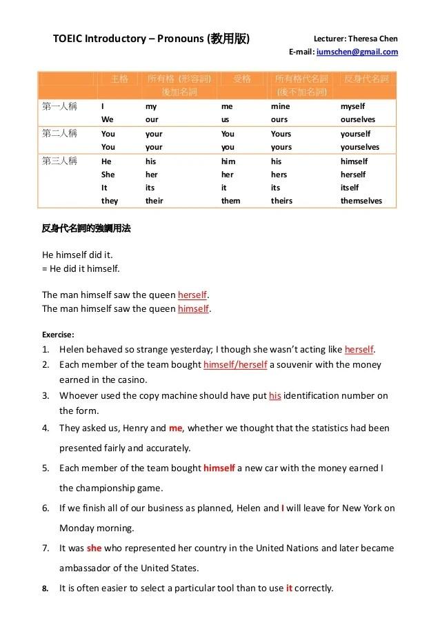 Toeic introductory 反身代名詞 (教用版)