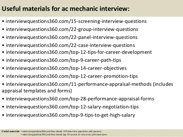 Top 10 Ac Mechanic Interview Questions And Answers