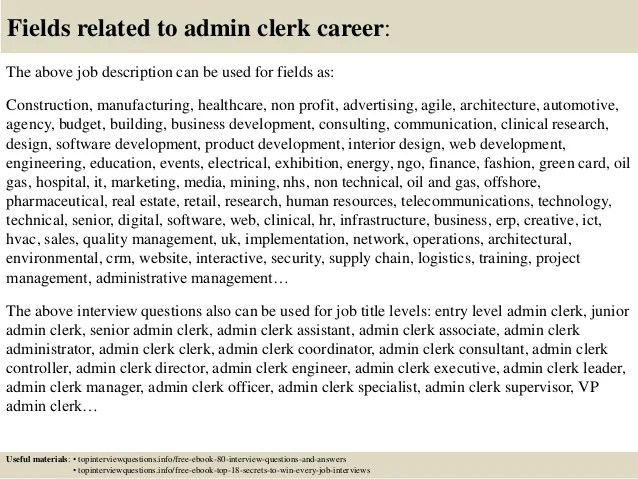 Top 10 Admin Clerk Interview Questions And Answers