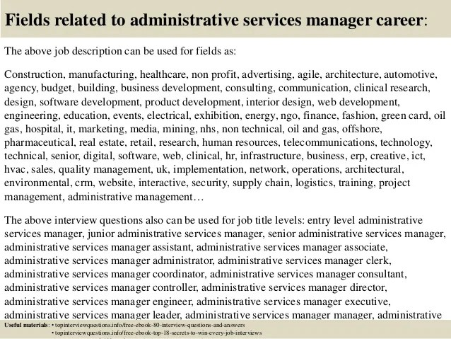 Top 10 administrative services manager interview questions and answers